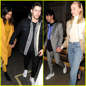 Nick & Joe Jonas Go On a Double Date in London with Priyanka Chopra & Sophie Turner