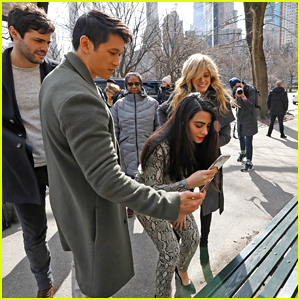 Matthew Daddario & Katherine McNamara Stop By 'Shadowhunters' New Bench in Central Park