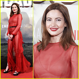 Ivana Baquero is Radiant in Red at Spanish Premiere of 'The Highwaymen'