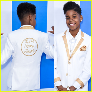JD McCrary Wears 'RIP Nipsey Hussle' Jacket To 'Little' Premiere