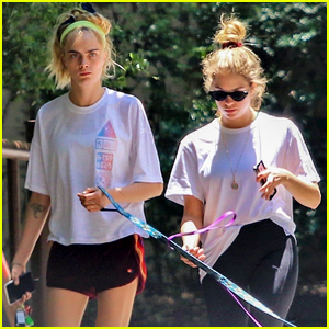 Cara Delevingne Ashley Benson Take Their Dogs For A Walk