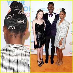 Eris Baker Wears Love Pins In Her Hair for Lupus LA Orange Ball 2019