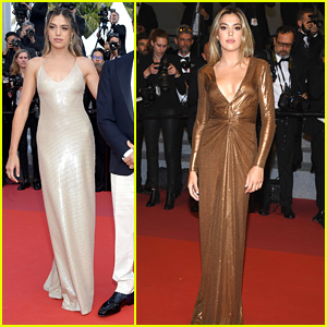 Sistine Stallone Wears Silver & Gold Dresses To Cannes Film Festival 2019