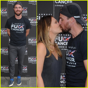 Stephen Amell & Wife Cassandra Share a Kiss Arriving at F Cancer Benefit!