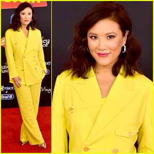 Ally Maki Wears Neon Yellow Suit For 'Toy Story 4' Premiere