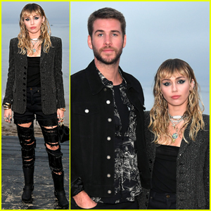 Miley Cyrus Steps Out for Saint Laurent Show with Liam Hemsworth