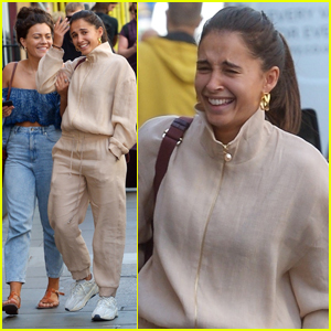 Naomi Scott Shares a Laugh with a Friend in London!