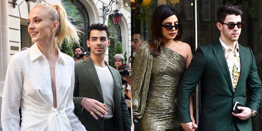 Joe & Nick Jonas Both Wear Green Suits While Heading To Dinner With Wives in Paris