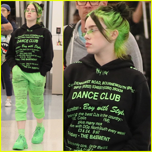 Billie Eilish Matches Neon Green Hair With Her Outfit Billie