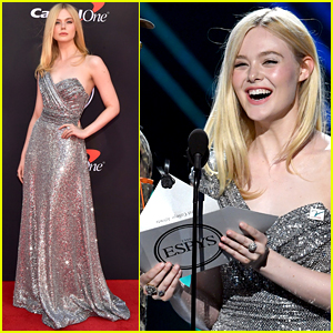 Elle Fanning Dazzles in Silver Gown While Presenting at ESPYs 2019