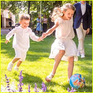 Princess Estelle Plays Soccer With Brother, Prince Oscar, at Princess Victoria's Birthday Celebration