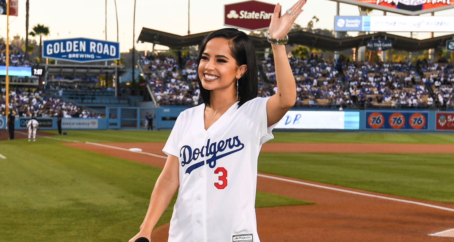 Becky G Sings National Anthem at Dodger's Game!