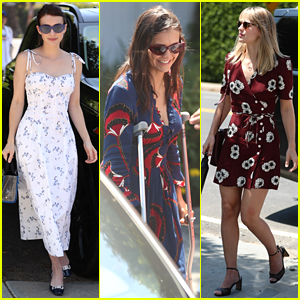 Nina Dobrev Uses Her Crutches While Attending Day of Indulgence Party