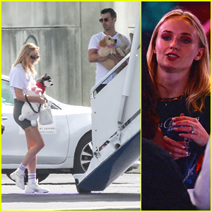 Joe Jonas & Sophie Turner Carry Their Pups Onto Plane After 'Happiness Begins' Tour Opener