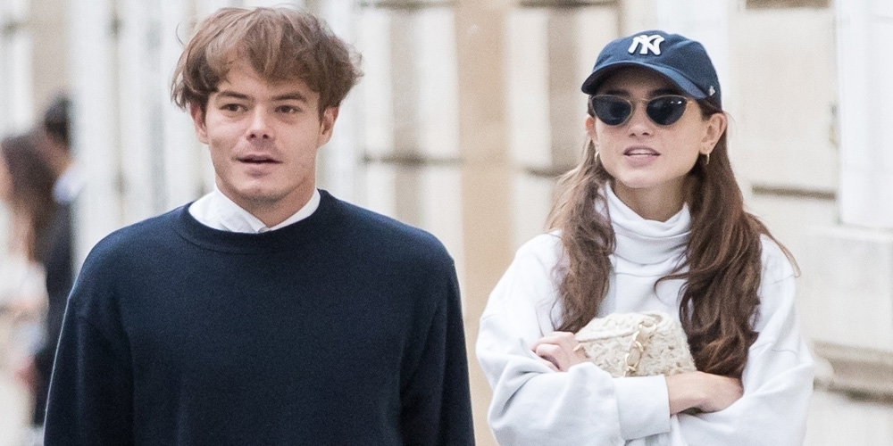 Natalia Dyer Arrives in Paris For Fashion Week with Charlie Heaton