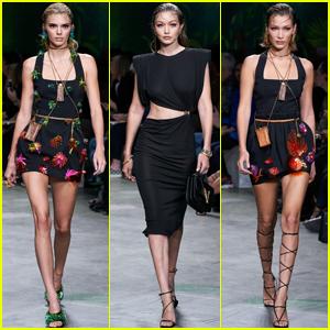 BFFs Kendall Jenner, Gigi & Bella Hadid Hit the Versace Runway Together