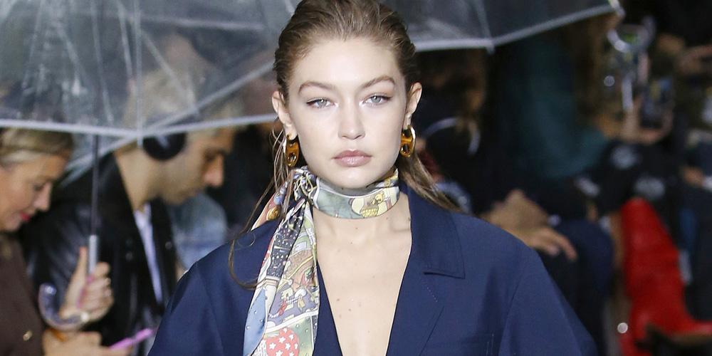 Gigi Hadid Walks In The Rain For Lanvin Fashion Show in Paris
