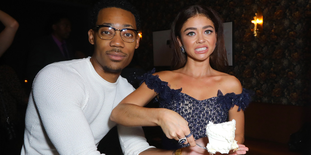 Sarah Hyland & Tyler James Williams Serve Wedding Cake at 'The Wedding Year' Premiere