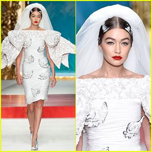 Gigi Hadid Rocks a Wedding Dress During Moschino Show!
