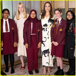 Elle Fanning & Her 'Maleficent' Co-Star Angelina Jolie Chat With Students at London School