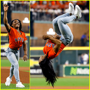 Simone Biles Does Backflip Before Throwing First Pitch At World Series - Watch Now!
