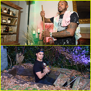 Trevor Jackson & Jordan Buhat Have 'Hocus Pocus' Fun at Freeform's Halloween House