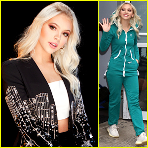 Jordyn Jones Changes Into A Cool Teal Jumpsuit After Her Appearance on Build Series