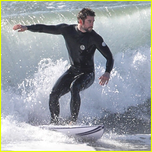 Liam Hemsworth Hits The Waves For Surf Break in Malibu