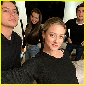 Lili Reinhart, Cole Sprouse, & Casey Cott Don Matching Outfits for Cute Selfie