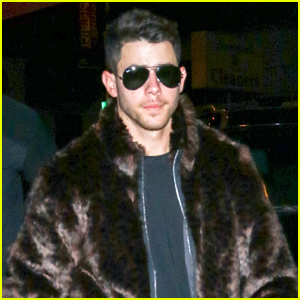 Nick Jonas Rocks Faux-Fur Coat for Dinner with Brothers!