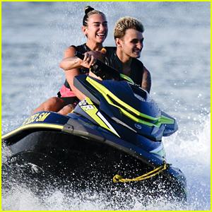 Anwar Hadid & Girlfriend Dua Lipa Splash Around The Water While Jet Skiing in Miami