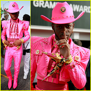 Lil Nas X Rocks Head-to-Toe Pink Cowboy Outfit at Grammys 2020