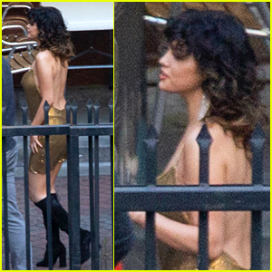 Selena Gomez Glimmers in Gold Dress While Filming a New Music Video