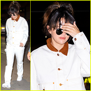 Selena Gomez Matches Her White Outfit To Her White Manicure For Flight Out of NYC