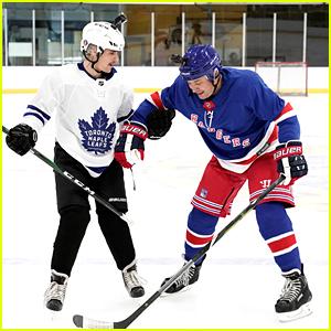 Justin Bieber Tries To Teach Jimmy Fallon How To Play Hockey