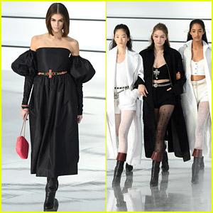 Kaia Gerber Wears Strapless Dress On Chanel Runway In Paris