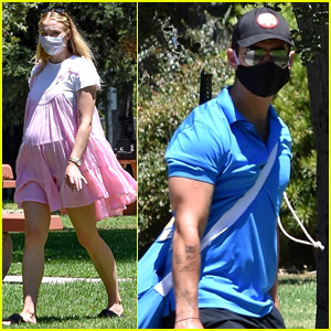Pregnant Sophie Turner Wears a Cute Pink Dress at the Park with Joe Jonas!