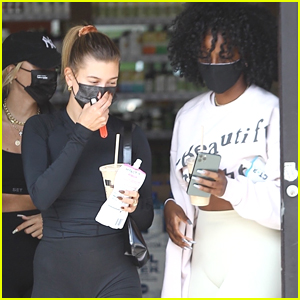 Hailey Bieber Meets Up With Justine Skye For a Juice Run After A Workout