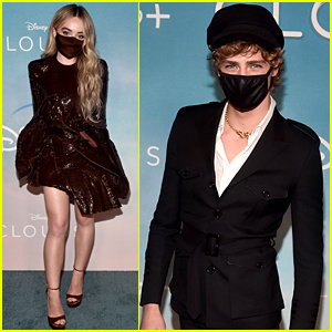 Sabrina Carpenter & Fin Argus Mask Up at the 'Clouds' Drive-In Premiere!