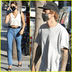 Hailey Bieber Flashes Her Midriff While Out with Justin
