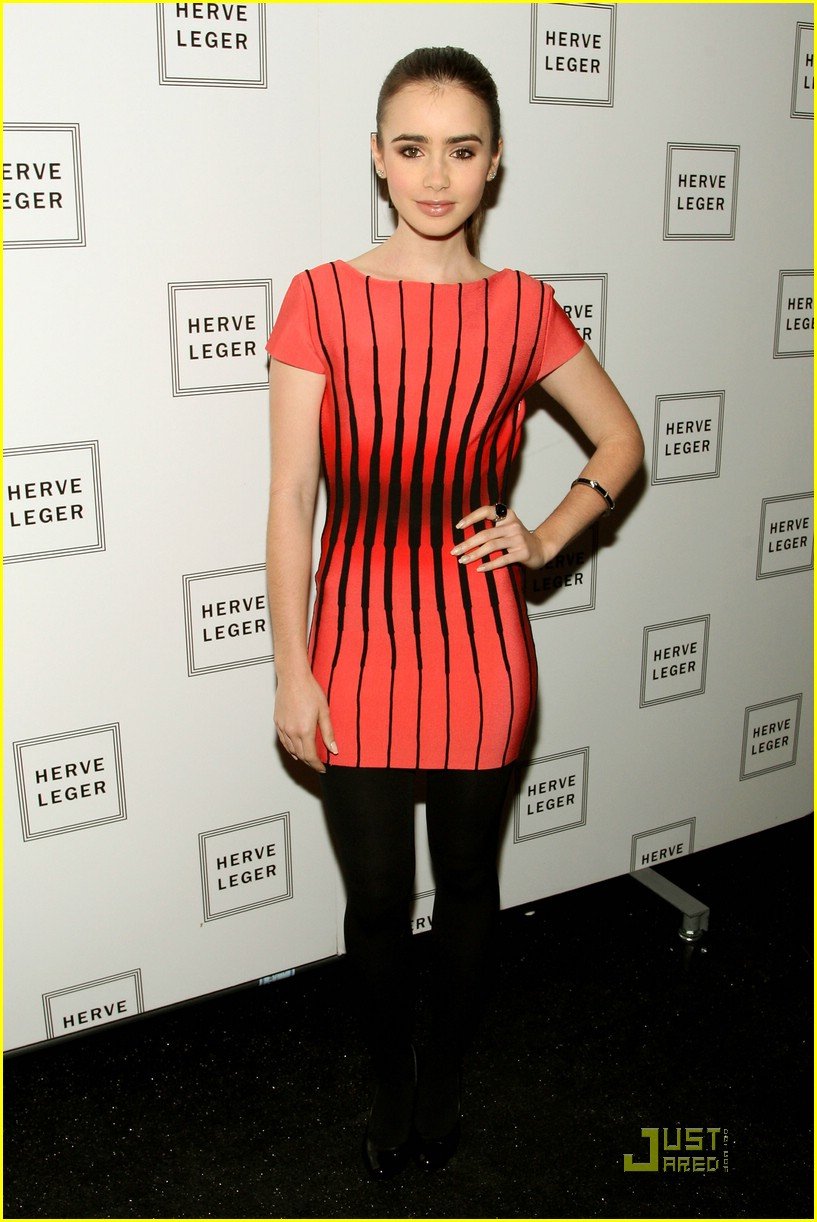 lily collins herve leger dress 03