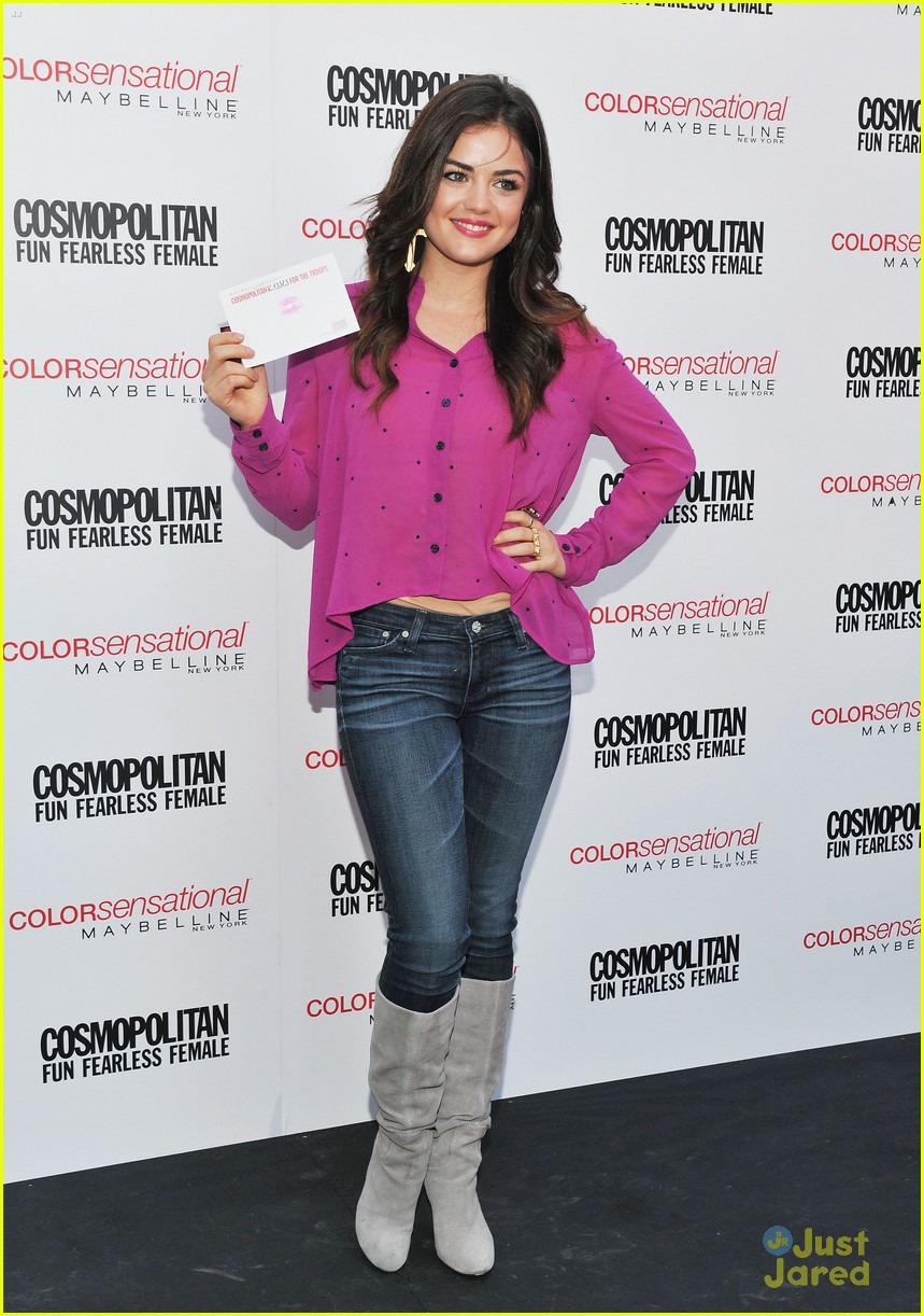 lucy hale cosmo kisses troops 13