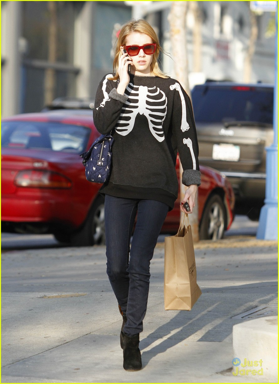 emma roberts skeleton sweater 08