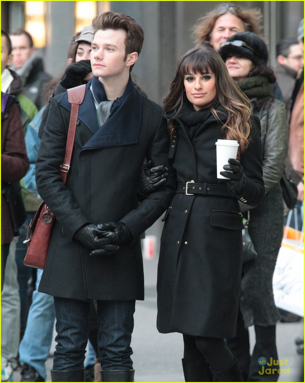 lea michele chris colfer dean geyer glee nyc 09