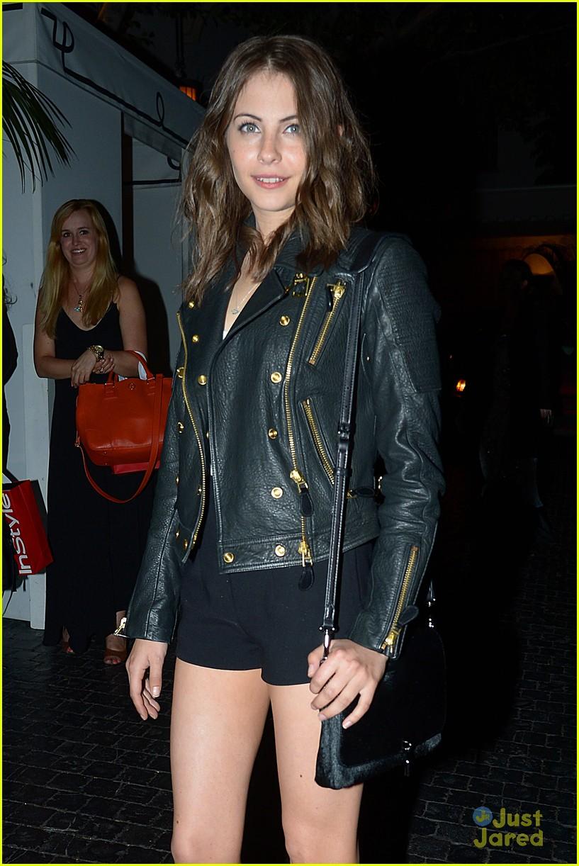Willa Holland Rocks A Black Leather Jacket As She Arrives