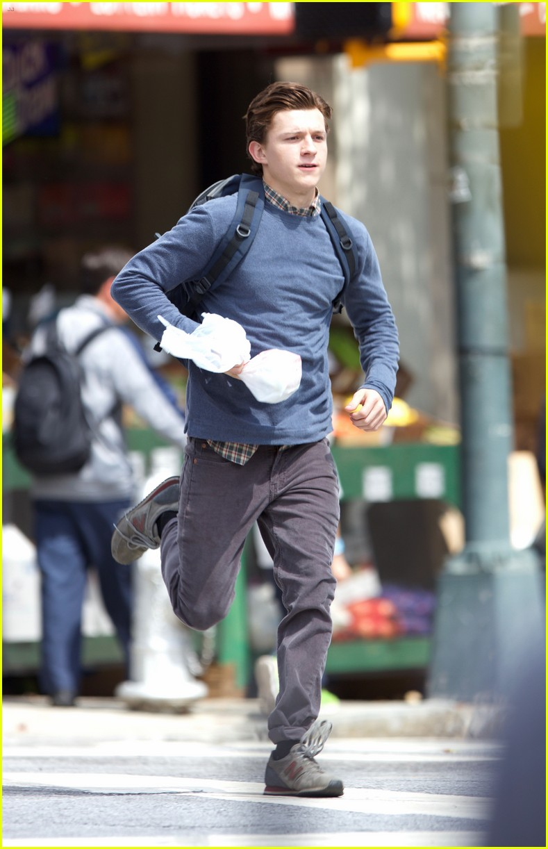 tom holland suits up on the set of spider man homecoming 07