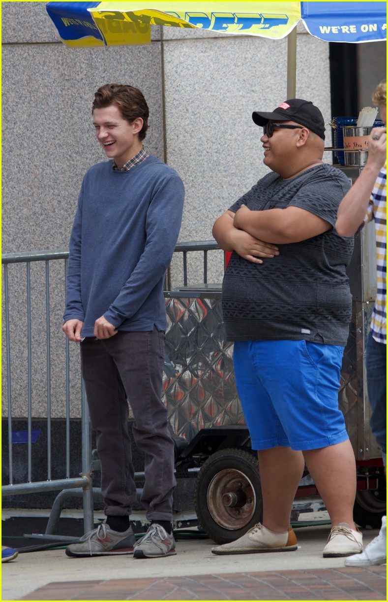 tom holland suits up on the set of spider man homecoming 10