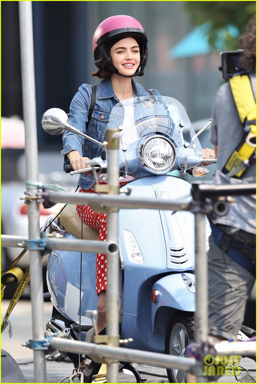 lucy hale rides a vespa and does some gardening on life sentence set 03