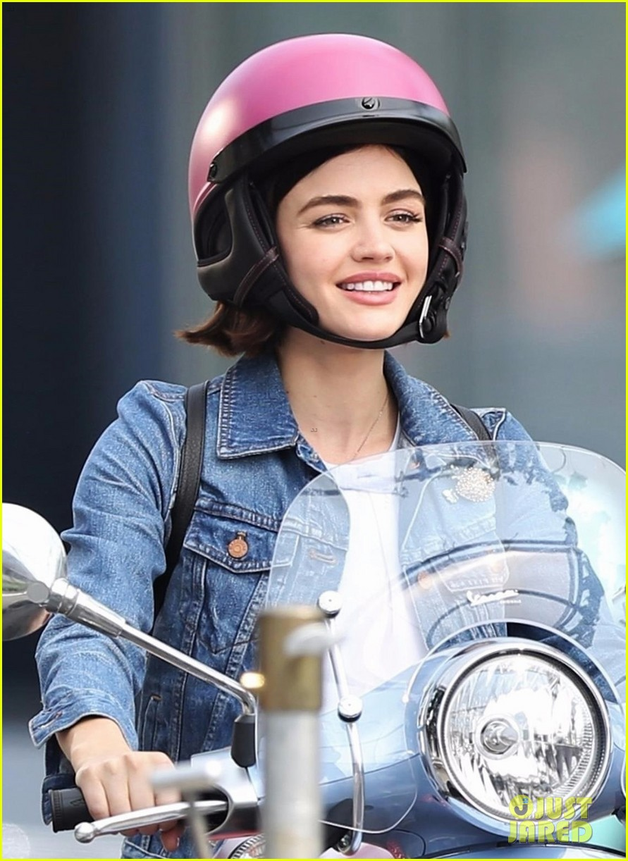 lucy hale rides a vespa and does some gardening on life sentence set 06