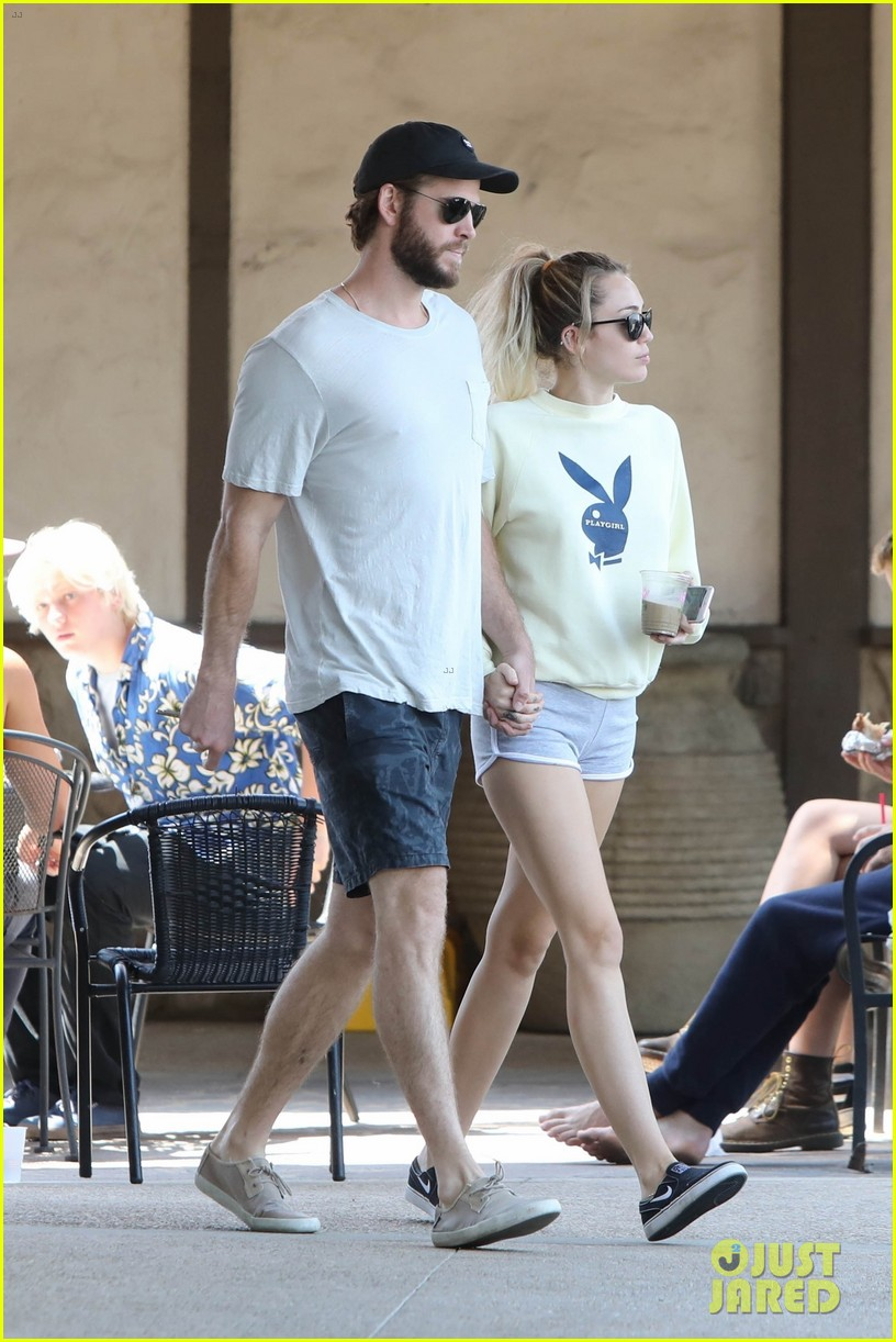 miley cyrus liam hemsworth hold hands for saturday morning date 05